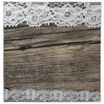 cordón retro en el fondo de madera servilletas de papel