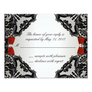 Cordón rojo, blanco y negro que casa RSVP Invitación 10,8 X 13,9 Cm