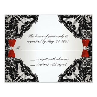 """Cordón rojo, blanco y negro que casa RSVP Invitación 4.25"""" X 5.5"""""""