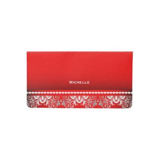 Cordón rojo y de plata elegante funda para chequera