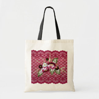 cordón rojo y tote floral bolsa