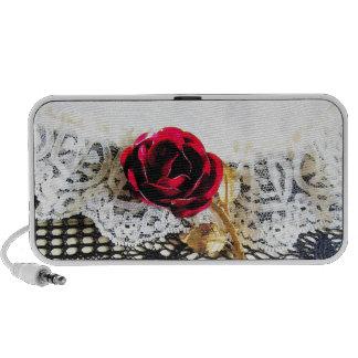 Cordón romántico del rosa rojo y del blanco laptop altavoz
