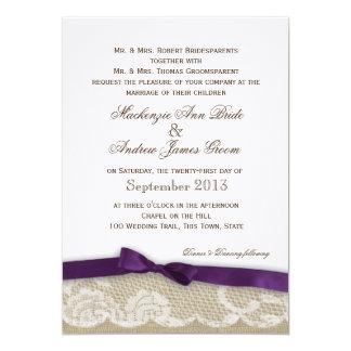"""Cordón romántico y boda púrpura oscuro del arco invitación 5"""" x 7"""""""