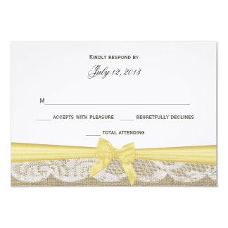 """Cordón romántico y respuesta amarilla del arco invitación 3.5"""" x 5"""""""