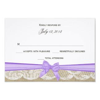 """Cordón romántico y respuesta púrpura del arco invitación 3.5"""" x 5"""""""