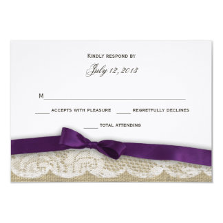 """Cordón romántico y respuesta púrpura oscura invitación 3.5"""" x 5"""""""