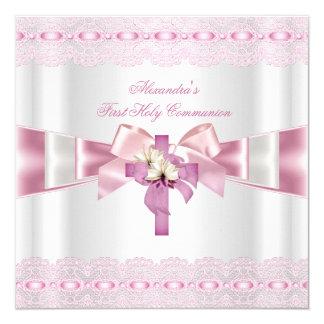 Cordón rosado blanco 2 de los primeros chicas de invitación 13,3 cm x 13,3cm