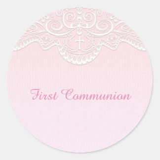 Cordón rosado, blanco, religioso pegatina redonda