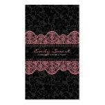 Cordón rosado de los damascos negros elegantes tarjeta de visita