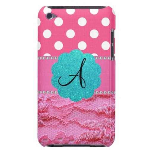 Cordón rosado de los lunares rosados del monograma iPod Case-Mate carcasa
