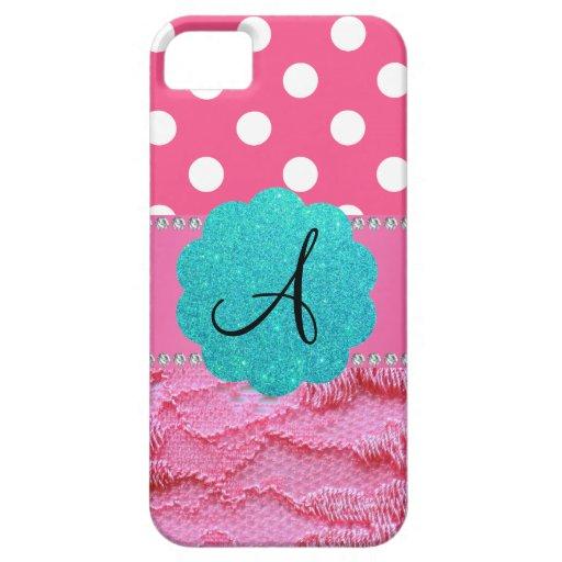 Cordón rosado de los lunares rosados del monograma iPhone 5 protector