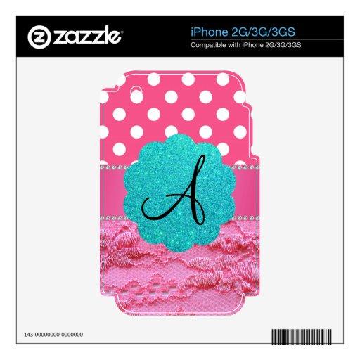 Cordón rosado de los lunares rosados del monograma iPhone 3G calcomanía