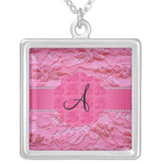 Cordón rosado del monograma grimpola personalizada