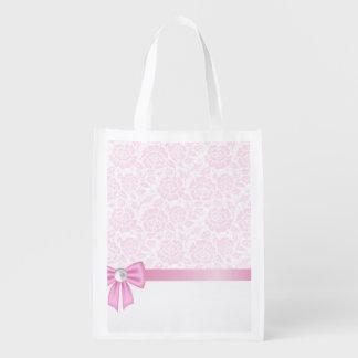 Cordón rosado, diamante, cinta de seda rosada, bolsas para la compra