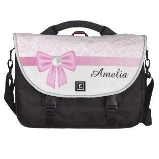 Cordón rosado, diamante, cinta de seda rosada, bolsas de ordenador