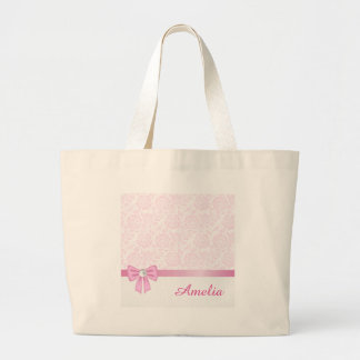 Cordón rosado, diamante, cinta de seda rosada, bolsa tela grande