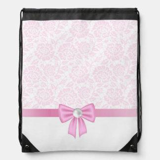 Cordón rosado, diamante, cinta de seda rosada, mochila