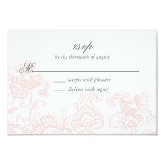 """Cordón rosado elegante que casa la tarjeta de RSVP Invitación 3.5"""" X 5"""""""