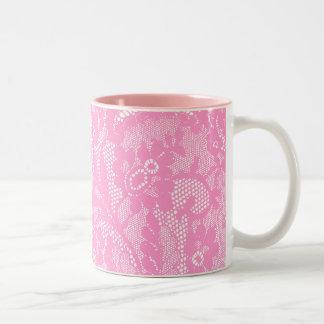 Cordón rosado taza de café de dos colores