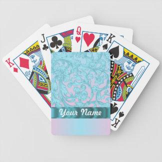 Cordón rosado y azul claro del damasco baraja cartas de poker