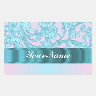 Cordón rosado y azul claro del damasco pegatina rectangular
