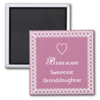 Cordón rosado y blanco del Granddaugher más dulce Imán Cuadrado