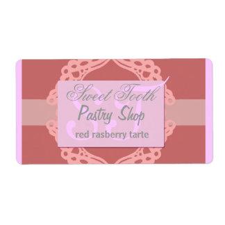 Cordón rosado y de plata de la etiqueta de la pana etiquetas de envío