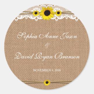 Cordón rústico, flores de Sun, personalizado del Pegatina Redonda