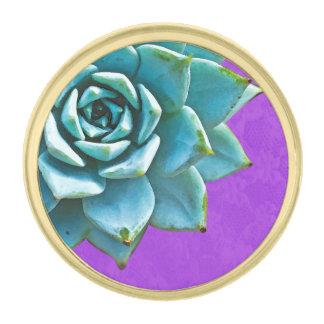 Cordón suculento de la púrpura de la acuarela insignia dorada