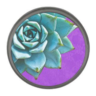 Cordón suculento de la púrpura de la acuarela insignia metalizada