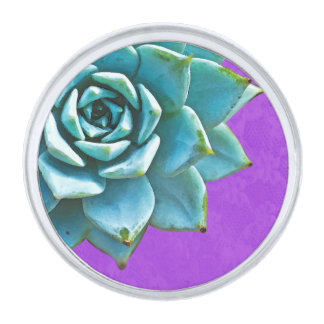 Cordón suculento de la púrpura de la acuarela insignia plateada