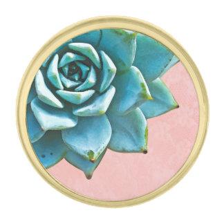 Cordón suculento del rosa de la acuarela insignia dorada