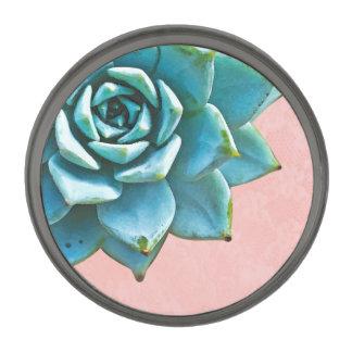 Cordón suculento del rosa de la acuarela insignia metalizada