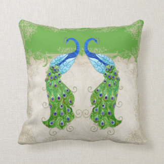 Cordón verde del vintage del pavo real del estilo cojín