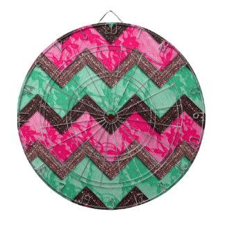 Cordón verde rosado de moda femenino del zigzag tablero de dardos