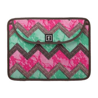 Cordón verde rosado de moda femenino del zigzag funda macbook pro