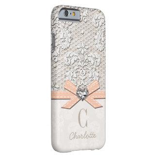 Cordón y arco impresos corazón coralino de la funda de iPhone 6 slim
