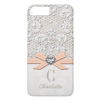 Cordón y arco impresos corazón coralino de la funda iPhone 7 plus