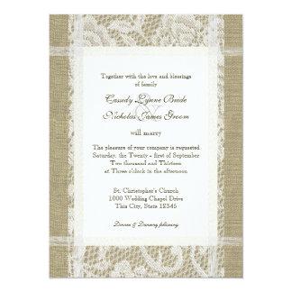 """Cordón y arpillera rústicos del boda invitación 5.5"""" x 7.5"""""""