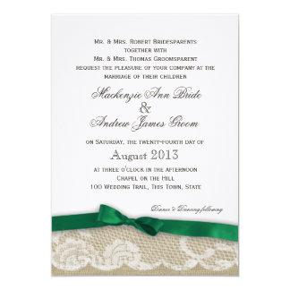 """Cordón y boda del arco del verde esmeralda invitación 5"""" x 7"""""""