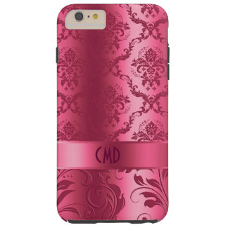 Cordón y damascos florales rojos coralinos funda de iPhone 6 plus tough