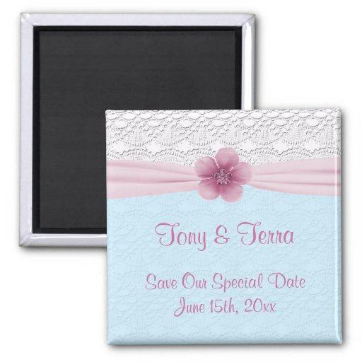 Cordón y flor romántica, azules cielos y rosa iman para frigorífico