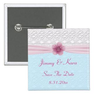 Cordón y flor romántica, azules cielos y rosa pin