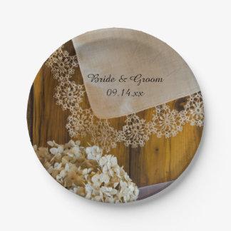 Cordón y flores del país que casan las placas de plato de papel de 7 pulgadas