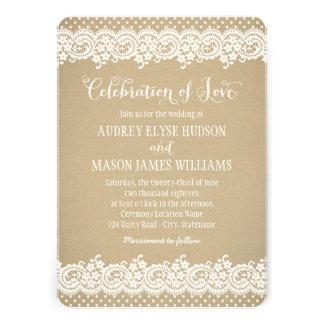 Cordón y Kraft de la invitación el del boda