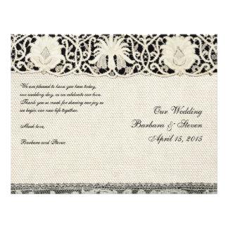 """Cordón y lino blancos del vintage del boda folleto 8.5"""" x 11"""""""