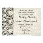 Cordón y lino blancos del vintage del boda invitación 12,7 x 17,8 cm