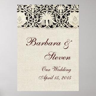 Cordón y lino blancos del vintage del boda póster