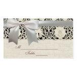Cordón y lino blancos del vintage del boda tarjeta de visita