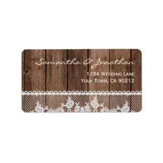 Cordón y madera blancos rústicos etiqueta de dirección